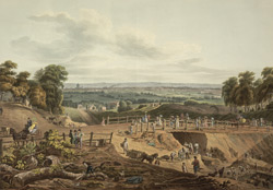 View of the excavated ground for the Highgate Archway